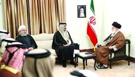 His Highness the Amir Sheikh Tamim bin Hamad al-Thani meeting the Supreme Leader of Iran, Ali Khamen