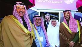 HE al-Baker with Kuwaiti dignitaries on the opening day of the Kuwait Aviation Show