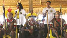Indigenous leader Cacique Raoni, of the Kayapo tribe, attends a four-day pow wow in Piaracu village,