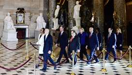 Secretary of the Senate Irving, House Clerk Johnson and impeachment managers walk through Statuary H