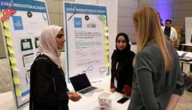 Some of the students participating in Arab Innovation Academy's 'Startup Expo' where they presented