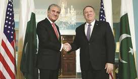 Foreign Minister Shah Mahmood Qureshi with US Secretary of State Mike Pompeo before their meeting on