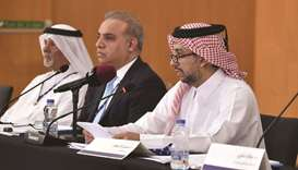 Dr al-Derham, Dr Zweiri, and Dr al-Mesfer at the conference.
