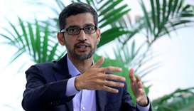 Sundar Pichai, CEO of Google and Alphabet, speaks on artificial intelligence during a Bruegel think