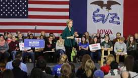 Democratic presidential candidate Sen. Elizabeth Warren (D-MA) speaks during a town hall event at a