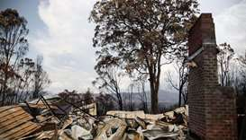 Rubble are seen at a property damaged by bushfires in Kangaroo Valley, Australia
