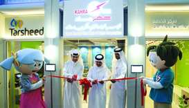 Mohamed Ali al-Muhannadi and Khaled Ali al-Mawlawi opening the Kahramaa pavilion at KidZania Doha. P