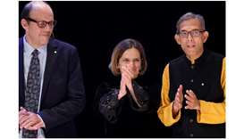 HONOURED: From left, laureates Michael Kremer, Esther Duflo and Abhijit Banerjee.
