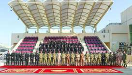 Officials of the Amiri Guard and Sultan's Special Forces with the officers on the concluding session