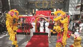 Dignitaries at the official launch of the Lancome Pop-Up store at a Chinese New Year-themed opening