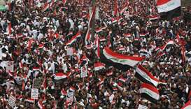 Thousands of Iraqis demonstrate in the heart of Baghdad on January 24, 2020 to demand the ouster of