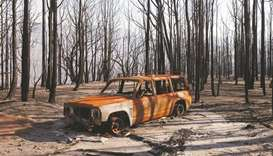 A burned car stands amid dead trees after a wildfire destroyed the Kangaroo Valley Bush Retreat in K