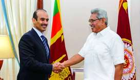 HE the Minister of State for Energy Affairs Saad bin Sherida al-Kaabi shakes hand with Sri Lankan Pr