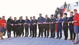 Officials at a ceremony held to mark the inaugural flight.