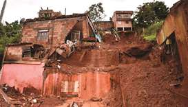 A landslide in Vila Bernadete, Belo Horizonte, Minas Gerais state, damaged several houses and left f