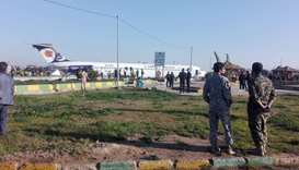 Iranian passenger plane is seen after sliding off the runway upon landing at Mahshahr airport