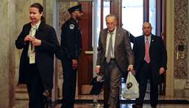 Senate Minority Leader Chuck Schumer (D-NY), arrives at the US Capitol for the Senate impeachment tr
