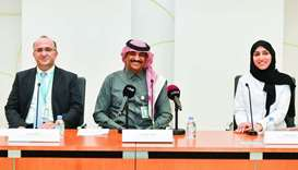 Sidra Medicine officials at the press conference. PICTURE: Noushad Thekkayil