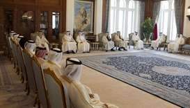 His Highness the Amir Sheikh Tamim bin Hamad Al-Thani with the members of the cabinet