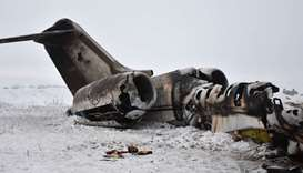In this photograph taken on January 27, 2020 the wreckage of a US Bombardier E-11A jet is seen after