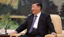 Chinese President Xi jinping speaks during a meeting with Tedros Adhanom, director general of the Wo