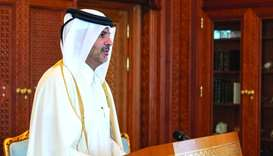 HE Sheikh Khalid bin Khalifa bin Abdulaziz al-Thani taking the oath as the Prime Minister and Minist