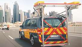A road survey vehicle deployed by Ashghal.