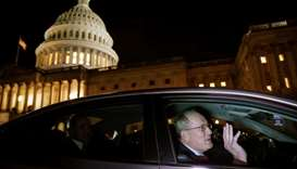 US Senator Lamar Alexander (R-TN) exits the Trump impeachment trial in Washington