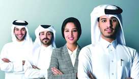 (From right) hapondo co-founders Abdulla al-Fadhala, Haajerah Khan, Abdulaziz al-Yazeedi, and Ahmad