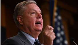 Republican Senator Lindsey Graham speaks during a press conference on the Department of Justice Insp
