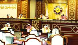 HE the Speaker of the Shura Council Ahmed bin Abdullah bin Zaid al-Mahmoud chairing yesterday's sess