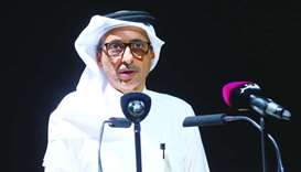 HE the Minister of Culture and Sports Salah bin Ghanem bin Nasser al-Ali speaking at the launch pres