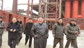 North Korean leader Kim Jong-un gives field guidance at Sunchon Phosphatic Fertilizer Factory under