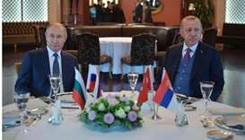 Russian President Vladimir Putin and Turkish President Recep Tayyip Erdogan attend a meeting on Janu