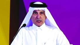 Qatar Airways Group Chief Executive and Secretary-General of QNTC, HE Akbar al-Baker speaking at the