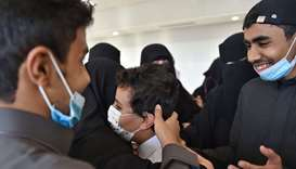 Emotional scenes as Saudi people welcome their relatives who arrived from Doha in Riyadh