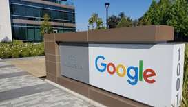A sign is pictured outs a Google office near the company's headquarters in Mountain View, California
