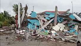 A view shows a destroyed Rs. Mitra Manakarra Hospital following an earthquake in Mamuju, West Sulawe