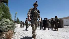 An US soldier keeps watch at an Afghan National Army (ANA) base in Logar province, Afghanistan