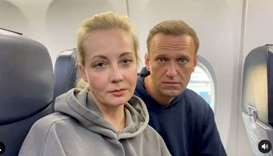 Russian opposition politician Alexei Navalny and his wife Yulia are seen in a still image from video