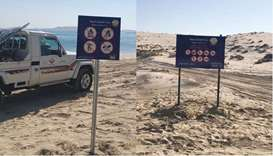 MME puts up signboards at Sealine and Khor al Udeid