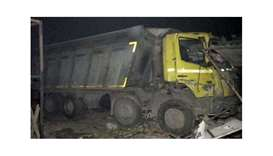 The dumper truck that ran over the sleeping labourers. Picture courtesy of NDTV