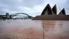 A deserted forecourt of the Opera House as Covid-19 restrictions are enforced for New Year celebrati