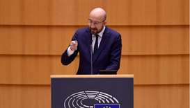 European Council President Charles Michel addresses European lawmakers during a plenary session on t