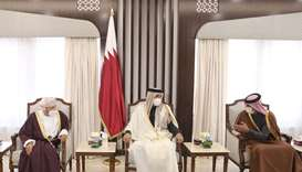 His Highness the Amir Sheikh Tamim bin Hamad Al-Thani meets with the Minister of Interior of the Sul
