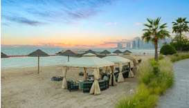 The newly launched St Regis private beach gazebos.