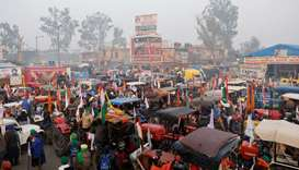 A view shows tractors before the start of a tractor rally to protest against farm laws on the occasi