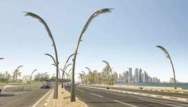 Artist's impression of lighting poles designed in the form of palm fronds and to be installed along