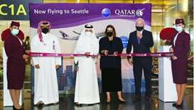 HE Qatar Airways Group chief executive Akbar al-Baker and Chargé d'Affaires of the US embassy in Doh