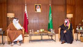 His Highness the Amir Sheikh Tamim bin Hamad Al-Thani meets Saudi Arabia's Crown Prince Mohammed bin